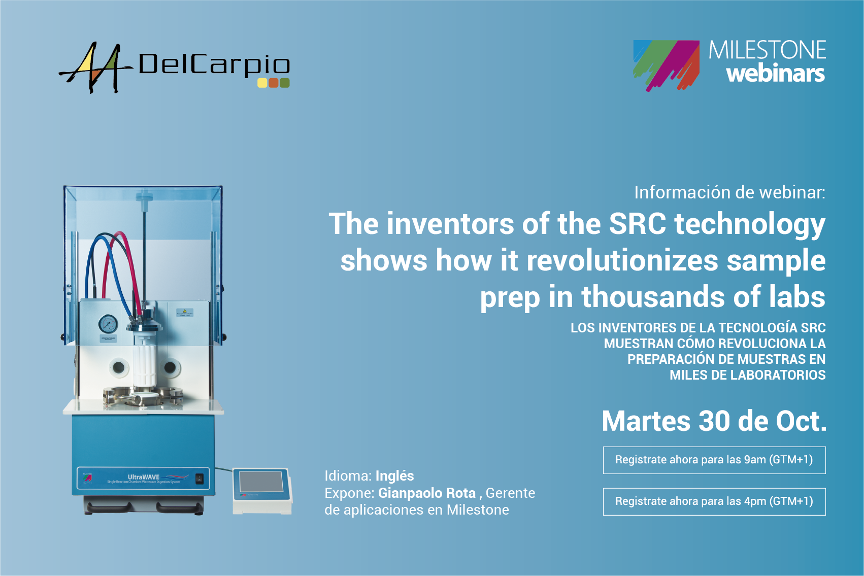 WEBINAR 30 Octubre – The inventors of the SRC technology shows how it revolutionizes sample prep in thousands of labs